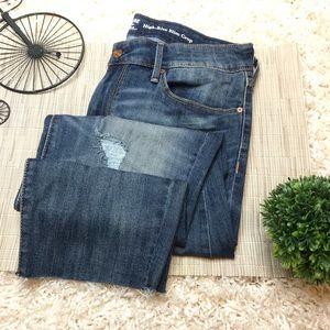 Levis High Rise Slim Crop Raw Hem Distressed Jeans